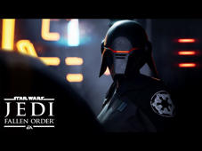 a screen shot of a person: Cal Kestis—one of the last surviving members of the Jedi Order after the purge of Order 66—is now a Padawan on the run. Experience this all-new single-player Star Wars™ story from Respawn Entertainment and EA Star Wars on Xbox One, PlayStation 4, and PC this holiday season, 15 November 2019.  Star Wars Jedi: Fallen Order is an action-adventure game set after Star Wars: Episode III — Revenge of the Sith™. Develop your Force abilities, hone your lightsaber techniques, and explore the ancient mysteries of a long-lost civilization—all while staying one step ahead of the Empire and its deadly Inquisitors.