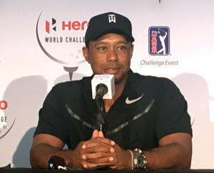 Tiger Woods speaks at a press conference at the Albany Golf Club in Nassau, Bahamas, Tuesday, Nov. 28, 2017. Woods is playing in this weeks Hero World Challenge, his first tournament since fusion surgery on his lower back in April. (AP Photo/Doug Ferguson)