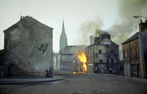 In this February 1972 file photo, a building burns in the bogside district of Londonderry, Northern Ireland, in the aftermath of Bloody Sunday.