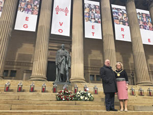 Mayor of Liverpool Joe Anderson and Lord Mayor Christine Banks stand on the steps of St George???s Hall in Liverpool after laying wreaths to mark the 30th anniversary of the Hillsborough disaster. (Photo by Eleanor Barlow/PA Images via Getty Images)