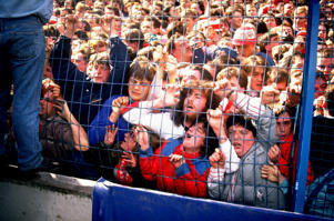 Apr 1989:  Supporters are crushed against the barrier as disaster strikes before the FA Cup semi-final match between Liverpool and Nottingham Forest played at the Hillsborough Stadium in Sheffield, England.  \ Mandatory Credit: David  Cannon/Allsport