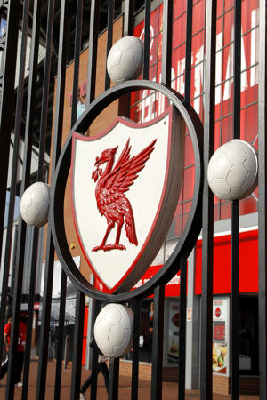 The Liverpool crest on the gates at Anfield.