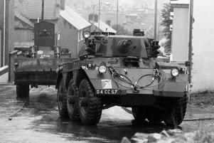 Armoured vehicles, including 50-ton converted Centurion tanks, were used to bulldoze barriers in Catholic no-go areas of the Bogside and Creggan estates.