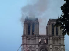 PARIS, April 15, 2019 -- Smoke rises from the Notre Dame Cathedral in central Paris, capital of France, on April 15, 2019. A blaze broke out on Monday afternoon at the Notre Dame Cathedral in central Paris where firefighters were still fighting to put the fire under control, Paris Mayor Anne Hidalgo said. (Xinhua/Yang Yimiao) (Xinhua/ via Getty Images)