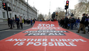 A large banner unfurled along Whitehall during a Peoples Vote march.
