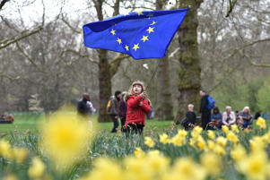 LONDON, ENGLAND - MARCH 23: Katherine Franklin aged 6 waves a European flag in Green Park during the Put It To The People March on March 23, 2019 in London, England. Thousands of protesters are expected to take part in the Put It To The People March, organised by the People's Vote campaign, from Park Lane to Parliament Square, calling for a public vote on the Government's final Brexit deal. (Photo by John Keeble/Getty Images)