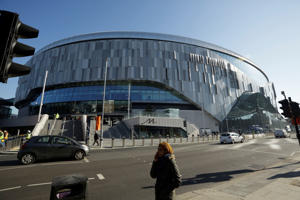 An exterior view shows the new Tottenham Hotspur stadium in north London, Friday, Feb. 15, 2019. The newly constructed stadium is not yet ready to host any soccer matches. (AP Photo/Matt Dunham)