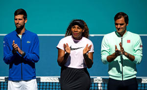 MIAMI GARDENS, FLORIDA - MARCH 20: (L-R) Novak Djokovic of Serbia, Serena Williams of the United States and Roger Federer of Switzerland applaud during the ribbon cutting ceremony on the new Stadium Court at the Hard Rock Stadium, before the first match of the Miami Open on March 20, 2019 in Miami Gardens, Florida. (Photo by TPN/Getty Images)