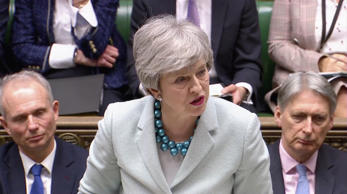 British Prime Minister Theresa May delivers a statement in the Parliament in London, Britain March 25, 2019, in this still image taken from video. Reuters TV/via REUTERS