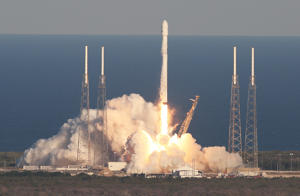 A SpaceX Falcon 9 rocket carrying a TESS spacecraft lifts off on April 18, 2018, from Space Launch Complex 40 at Cape Canaveral Air Force Station in Florida. TESS is a telescope/camera that will hunt for undiscovered worlds around nearby stars. (Red Huber/Orlando Sentinel/TNS via Getty Images)