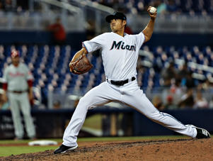 Miami Marlins pitcher Wei-Yin Chen could not stop the Philadelphia Phillies from scoring during the top of 14th inning on Sunday, April 14, 2019 during the last game of the three-game series inside Marlins Park in Miami, Fla. (Carl Juste/Miami Herald/TNS via Getty Images)