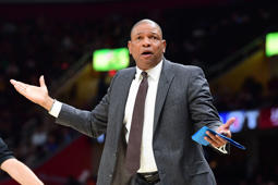 CLEVELAND, OHIO - MARCH 22: Head coach Doc Rivers of the LA Clippers reacts to a call during the first half against the Cleveland Cavaliers at Quicken Loans Arena on March 22, 2019 in Cleveland, Ohio. NOTE TO USER: User expressly acknowledges and agrees that, by downloading and or using this photograph, User is consenting to the terms and conditions of the Getty Images License Agreement. (Photo by Jason Miller/Getty Images)