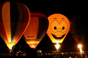 POKOLBIN, AUSTRALIA - APRIL 13: Balloony McBalloonface is seen during a hot air balloon show during the Hunter Valley Night Glow at Roche Estate vineyards on April 13, 2019 in Pokolbin, Australia. (Photo by Matt Blyth/Getty Images)