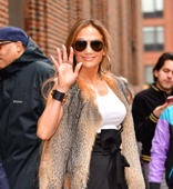 NEW YORK, NY - APRIL 09:  Jennifer Lopez leaves a radio interview for 'Elvis Duran And The Z100 Morning Show' on April 9, 2019 in New York City.  (Photo by James Devaney/GC Images)