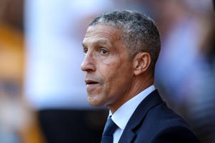 20th April 2019, Molineux, Wolverhampton, England; EPL Premier League football, Wolverhampton Wanderers versus Brighton and Hove Albion; Chris Hughton Manager Manager of Brighton before the game starts (Photo by Steve Feeney/Action Plus via Getty Images)