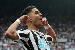 "Soccer Football - Premier League - Newcastle United v Southampton - St James' Park, Newcastle, Britain - April 20, 2019  Newcastle United's Ayoze Perez celebrates scoring their third goal to complete his hat-trick  REUTERS/Scott Heppell  EDITORIAL USE ONLY. No use with unauthorized audio, video, data, fixture lists, club/league logos or ""live"" services. Online in-match use limited to 75 images, no video emulation. No use in betting, games or single club/league/player publications.  Please contact your account representative for further details."