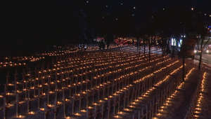 Calgary's Field of Crosses illuminated by thousands of candles ahead of Remembrance Day