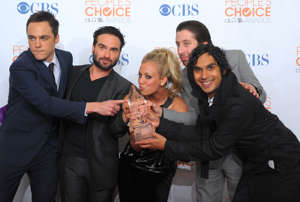 LOS ANGELES, CA - JANUARY 06: Actors Jim Parsons, Johnny Galecki, Kaley Cuoco, Simon Helberg and Kunal Nayyar pose in the press room during the People's Choice Awards 2010 held at Nokia Theatre L.A. Live on January 6, 2010 in Los Angeles, California. (Photo by Jason Merritt/Getty Images for PCA)