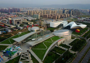 HOHHOT, Aug. 2, 2017 -- Photo taken on Aug. 1, 2017 shows the Inner Mongolia Museum in Hohhot, capital of north China's Inner Mongolia Autonomous Region. This group of photos taken by drones shows landmarks of the city, reflecting the development of the city in recent years. This year marks the 70th anniversary of the founding of the Inner Mongolia Autonomous Region. In local language, Hohhot means the 'Blue City'. It is the political, economic and cultural center of the region. (Xinhua/Chen Jianli via Getty Images)
