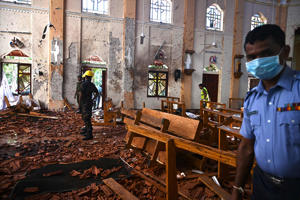 Security personnel inspect the interior of St Sebastian's Church in Negombo on April 22, 2019, a day after the church was hit in series of bomb blasts targeting churches and luxury hotels in Sri Lanka. - At least 290 are now known to have died in a series of bomb blasts that tore through churches and luxury hotels in Sri Lanka, in the worst violence to hit the island since its devastating civil war ended a decade ago. (Photo by Jewel SAMAD / AFP)        (Photo credit should read JEWEL SAMAD/AFP/Getty Images)