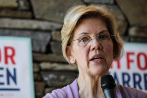Sen. Elizabeth Warren D-Mass., speaks at Ann Garland's house party in Lebanon, N.H. Saturday, April 13, 2019.