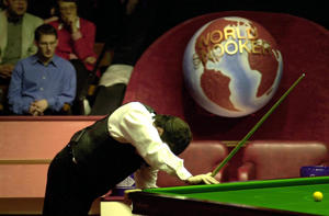 Jimmy White shows his disappointment as he falls far behind Matthew Stevens during their quarter final match at the Embassy World Snooker Finals in Sheffield.   (Photo by John Giles - PA Images/PA Images via Getty Images)