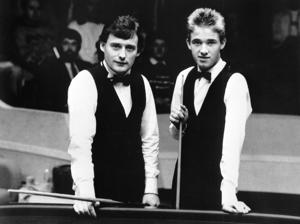 England's Jimmy White (l) with opponent Stephen Hendry, from Scotland, ahead of their Second Round match which Jimmy White went on to win 13-12.