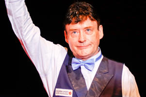 Jimmy White of England reacts during the first exhibition game against Ng On-Yee of Chinese Hong Kong on day four of 2017 Hong Kong Masters at Queen Elizabeth Stadium on July 23, 2017 in Hong Kong, China.