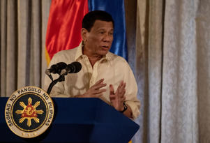 Philippine President Rodrigo Duterte gives a speech during the Ceremonial Confirmation of the Bangsamoro Organic Law Plebescite Law Canvass Results and Oath-taking of Transition Authority at the Malacanang palace in Manila on February 22, 2019. (Photo by Noel CELIS / AFP)        (Photo credit should read NOEL CELIS/AFP/Getty Images)