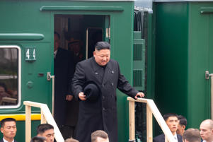North Korean leader Kim Jong Un disembarks from a train during a welcoming ceremony at a railway station in the far eastern settlement of Khasan, Russia April 24, 2019. Press Service of Administration of Primorsky Krai/Alexander Safronov/Handout via REUTERS