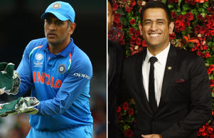 CAPTION: MS Dhoni of India during the ICC Champions Trophy match Group B between India and Sri Lanka at The Oval in London on June 08, 2017 (Photo by Kieran Galvin/NurPhoto via Getty Images) Indian international cricketers Hardik Himanshu Pandya (L) and Mahendra Singh Dhoni (R) pose for a picture during the wedding reception party of actors Ranveer Singh and Deepika Padukone in Mumbai late on December 1, 2018. (Photo by - / AFP) (Photo credit should read -/AFP/Getty Images)