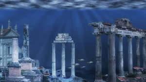 Illustration of the ruins of the Atlantis civilization