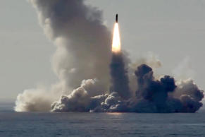 RUSSIA - MAY 23, 2018: Pictured in this screen grab is a Bulava missile launched by the Russian Navy Northern Fleet's Project 955 Borei nuclear missile cruiser submarine Yuri Dolgoruky from the White Sea in north-west Russia at the Kura testing grounds on Kamchatka Peninsula on Russia's Pacific coast during a military drill. Screen grab/Ministry of Defence of the Russian Federation/TASS (Photo by TASS\TASS via Getty Images)
