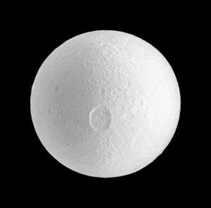 The large Penelope crater on Saturn's moon Tethys. Cassini. (Photo by: Universal History Archive/UIG via Getty Images)