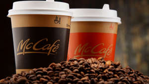 McCafe coffee cup and beans