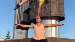 Russian acrobats carry out amazing stunt
