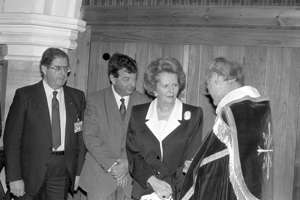Prime Minister Margaret Thatcher pictured with Peter Ball (R)