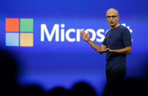 Microsoft CEO Satya Nadella gestures during his keynote address of the Build Conference in San Francisco in April.