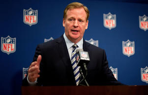 NFL Commissioner Roger Goodell speaks at a press conference at the NFL's spring ...