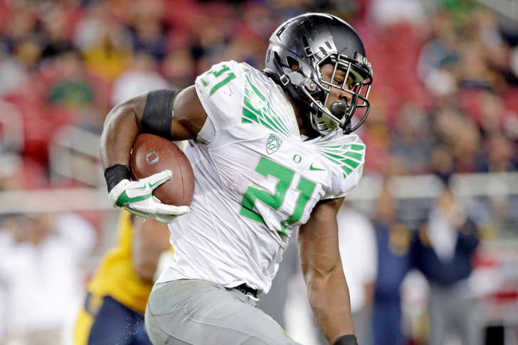 Oregon running back Royce Freeman in action against California during an NCAA college football game Friday, Oct. 24 in Santa Clara, Calif.