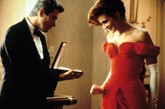 Roberts acclaimed major success when she starred with Richard Gere in Pretty Woman in 1990. The role earned her a second Oscar nomination, this time as Best Actress. It was originally titled $3,000 (the amount Vivian was paid for the week). However, it was changed. The laughter Julia gave in the necklace scene happened on the spot when Richard shut the case to make her happy as she wasn't feeling well and her reaction was so perfect that they kept it in the movie.