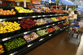 The fresh produce section is seen at a Walmart Supercenter in Rogers, Arkansas June 6, 2013.