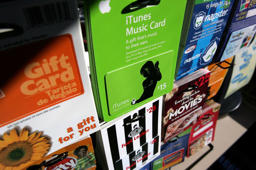 Gift cards from various retailers are seen on display at a Chevron service station convenience store December 19, 2006 in San Francisco.