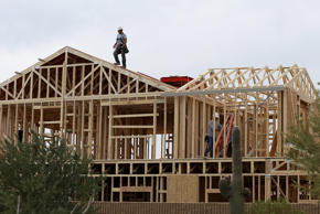 A worker climbs on the roof of a home under construction at the Pulte Homes Fireside at Norterra-Skyline housing development on March 5, 2013 in Phoenix, Arizona. In 2008, Phoenix, Arizona was at the forefront of the U.S. housing crisis with home prices falling 55 percent between 2005 and 2011 leaving many developers to abandon development projects. In 2012, Phoenix is undergoing a housing boom as sale prices have surged 22.9 percent, the highest price increase in the nation, and homebuilders are scrambling to buy up land.