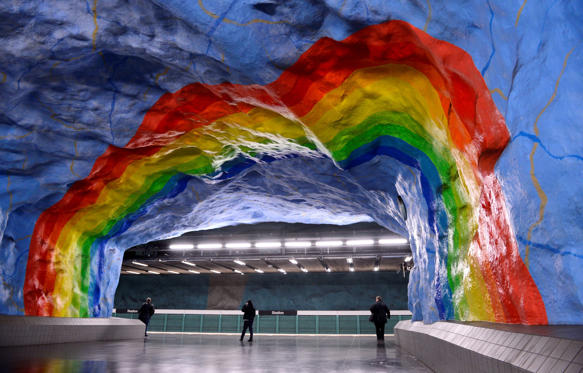 Slide 1 of 32: A must-see destination for travellers in Sweden, the Stockholm metro has been called the 'longest art gallery in the world'. The station was decorated by artists Enno Hallek and Ake Pallarp in 1973.