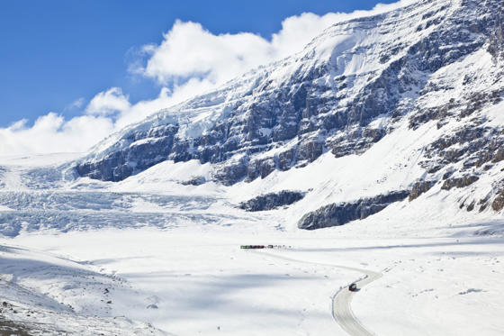 The most-visited glacier in North America, Alberta's Athabasca Glacier is a part of the Columbia Icefield spanning six square kilometers. Yet the glacier has been melting for the past 125 years, with its Southern edge retreating nearly a mile in that timeframe. Experts believe the glacier is now shrinking at its fastest rate yet and is currently losing anywhere between 6.6 to 9.8 feet a year.