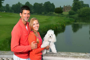 Novak Djokovic and Jelena Ristic and their dog Pierre at a promotional event in Buckinghamshire, Britain on June 20, 2013.