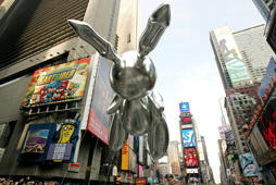 The Rabbit balloon by artist Jeff Koons floats in Times Square during the 81st annual Macy's Thanksgiving Day Parade on November 22, 2007 in New York City. Hiroko Masuike/Getty Images