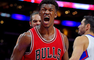 Chicago Bulls guard Jimmy Butler reacts after scoring against the Los Angeles Clippers during a game on Nov. 17 in Los Angeles.