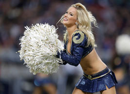 A St. Louis Rams cheerleader performs in the game against the Arizona Cardinals ...